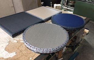大島紬柄の畳縁で座布団